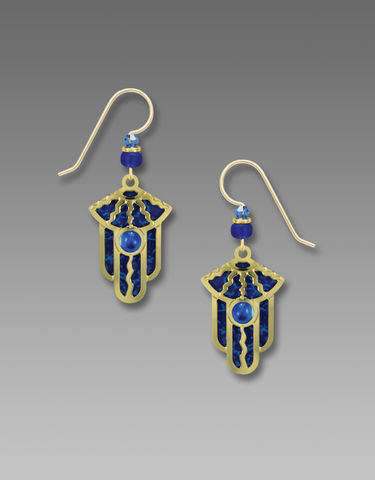 Adajio,Earrings,-,Blue,Background,with,Shiny,Gold,Tone,Deco,Overlay,and,Bead,Adajio Earrings, Adajio earrings Sienna Sky, Adajio Jewelry, Adajio Colorado, Adajio 7808