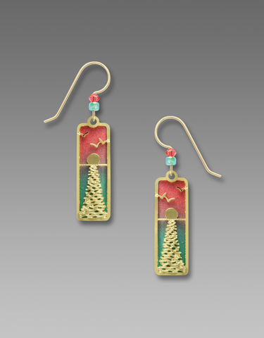 Adajio,Earrings,-,Green,and,Pink,Brass,Column,with,Shiny,Gold,Tone,Moonlight,Overlay,Adajio 7786, Adajio Earrings, Adajio earrings Sienna Sky, Etched Brass Earrings, Artisan Handmade