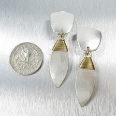Marjorie Baer Tapered Square with Wire Wrapped Leaf Earrings - product images 2 of 8