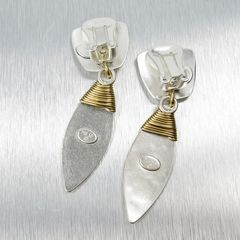 Marjorie Baer Tapered Square with Wire Wrapped Leaf Earrings - product images 7 of 8