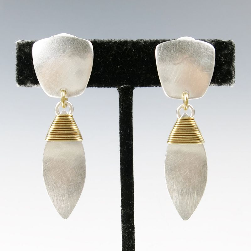 Marjorie Baer Tapered Square with Wire Wrapped Leaf Earrings - product image