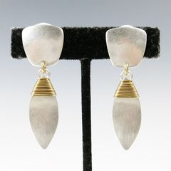 Marjorie Baer Tapered Square with Wire Wrapped Leaf Earrings - product images 3 of 8
