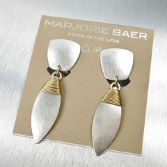 Marjorie Baer Tapered Square with Wire Wrapped Leaf Earrings - product images 4 of 8