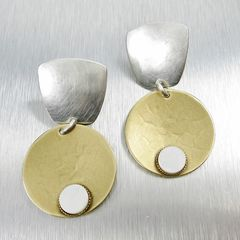 Marjorie Baer Tapered Square with Disc and Mother-of-Pearl Cabochon Earrings - product images 1 of 7