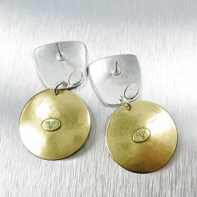 Marjorie Baer Tapered Square with Disc and Mother-of-Pearl Cabochon Earrings - product image