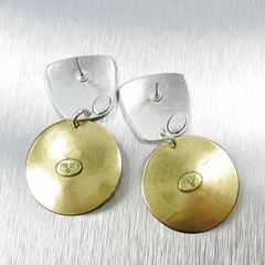 Marjorie Baer Tapered Square with Disc and Mother-of-Pearl Cabochon Earrings - product images 5 of 7
