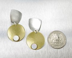 Marjorie Baer Tapered Square with Disc and Mother-of-Pearl Cabochon Earrings - product images 3 of 7