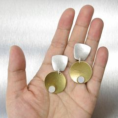 Marjorie Baer Tapered Square with Disc and Mother-of-Pearl Cabochon Earrings - product images 6 of 7