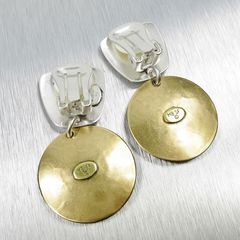 Marjorie Baer Tapered Square with Disc and Mother-of-Pearl Cabochon Earrings - product images 4 of 7