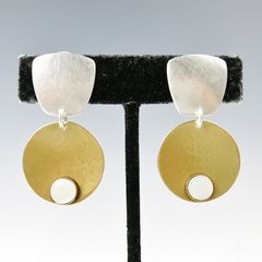 Marjorie Baer Tapered Square with Disc and Mother-of-Pearl Cabochon Earrings - product images 2 of 7