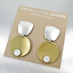 Marjorie Baer Tapered Square with Disc and Mother-of-Pearl Cabochon Earrings - product images 7 of 7