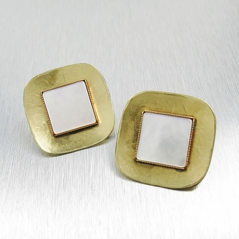 Marjorie,Baer,Concave,Square,with,Mother-of-Pearl,Earrings,Marjorie Baer clip post earrings, Marjorie Baer Concave Square with Square Mother-of-Pearl Earrings