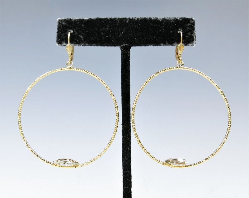 Catherine Popesco Large Textured Hoop Earrings with Crystal - product image