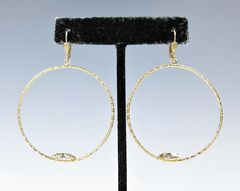 Catherine Popesco Large Textured Hoop Earrings with Crystal - product images 2 of 5