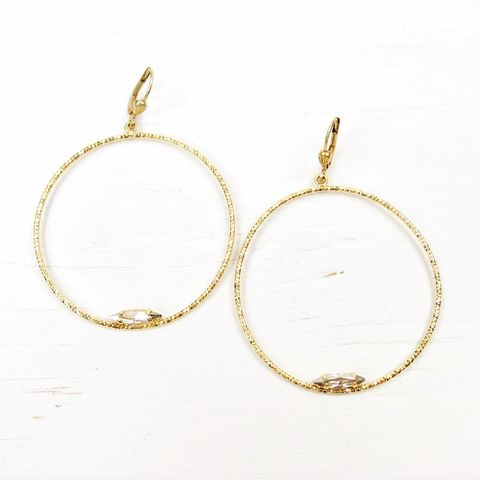 Catherine,Popesco,Large,Textured,Hoop,Earrings,with,Crystal,Catherine Popesco Earrings, La Vie Parisienne Earrings, Catherine Popesco Jewelry, Catherine Popesco Paris
