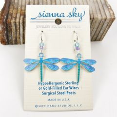 Sienna Sky Earrings -  UV Printed Blue Dragonfly - product images 2 of 4