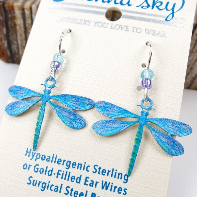 Sienna Sky Earrings -  UV Printed Blue Dragonfly - product image
