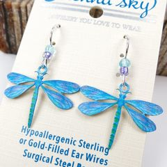 Sienna Sky Earrings -  UV Printed Blue Dragonfly - product images 3 of 4