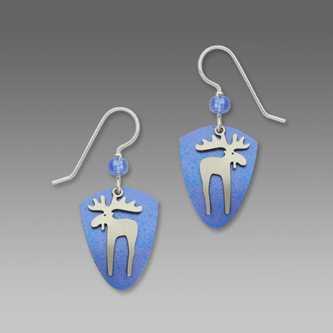 Sienna,Sky,Earrings,-,Moose,on,Blue,Shield,Sienna Sky Earrings, Adajio earrings Sienna Sky, Etched Brass Earrings, Moose earrings
