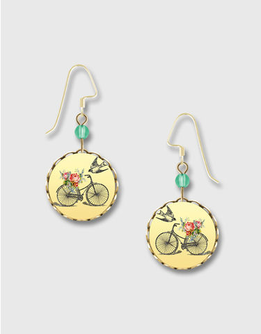 Lemon,Tree,-,Bicycle,with,Flower,on,Yellow,Background,Round,Earrings,Lemon Tree Earrings Colorado, Lemon Tree Earrings Bicycle with Flower