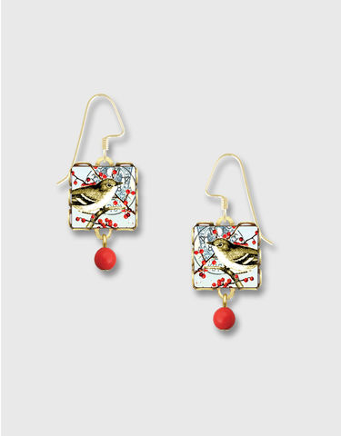 Lemon,Tree,-,Brown,Bird,in,Red,Berry,Lace,Brass,Square,Earrings,Lemon Tree Earrings Colorado, Lemon Tree Earrings Brown Bird in Red Berry Tree