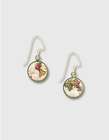 Lemon,Tree,-,Vintage,World,Map,Print,Round,Earrings,Lemon Tree Earrings Colorado, Lemon Tree Earrings Vintage World Map