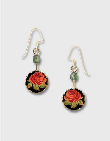 Lemon,Tree,-,Red,Rose,Lace,Brass,Round,Disc,Earrings,Lemon Tree Earrings Colorado, Lemon Tree Earrings Red Rose