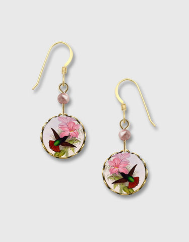 Lemon,Tree,-,Hummingbird,with,Pink,Lily,Lace,Brass,Disc,Earrings,Lemon Tree Earrings Colorado, Lemon Tree Earrings Hummingbird with Pink Lily