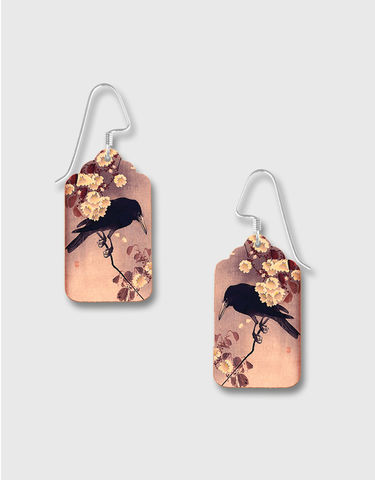 Lemon,Tree,-,Etched,Brass,Earrings,with,Raven,on,Blossom,Branch,Print,Lemon Tree Earrings Colorado, Lemon Tree Earrings Raven on Blossom Branch
