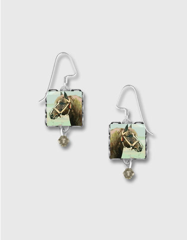 Lemon,Tree,-,Brown,Horse,Square,Lace,Brass,Earrings,Lemon Tree Earrings Colorado, Lemon Tree Earrings Brown Horse