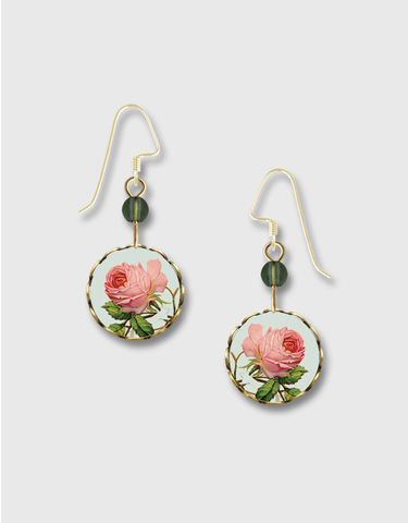 Lemon,Tree,-,Pink,Rose,Lace,Brass,Round,Disc,Earrings,Lemon Tree Earrings Colorado, Lemon Tree Earrings Pink Rose