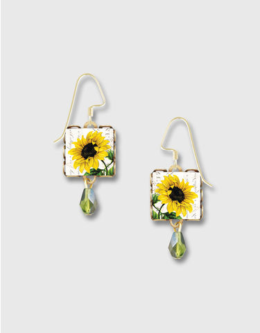 Lemon,Tree,-,Yellow,Sunflower,Square,Lace,Brass,Earrings,Lemon Tree Earrings Colorado, Lemon Tree Earrings Sunflower