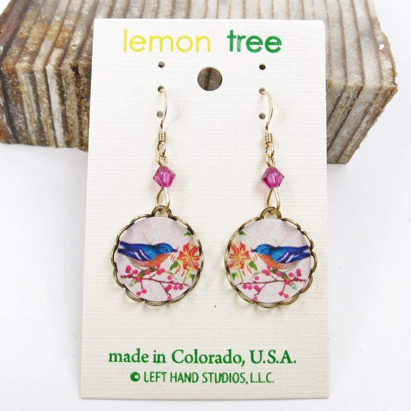 Lemon Tree - Blue Bird with Flowers Lace Brass Round Disc Earrings - product image