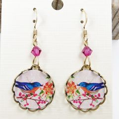 Lemon Tree - Blue Bird with Flowers Lace Brass Round Disc Earrings - product images 3 of 4