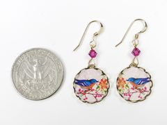 Lemon Tree - Blue Bird with Flowers Lace Brass Round Disc Earrings - product images 4 of 4