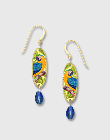 Lemon,Tree,-,Multicolor,Parrot,Long,Brass,Oval,Earrings,Lemon Tree Earrings Colorado, Lemon Tree Earrings Parrot