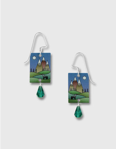 Lemon,Tree,-,Mountain,Scene,with,Wolf,Print,Long,Rectangle,Earrings,Lemon Tree Earrings Colorado, Lemon Tree Earrings Mountain Wolf
