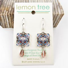Lemon Tree - Dragonfly Print Square Lace Brass Earrings - product images 2 of 4