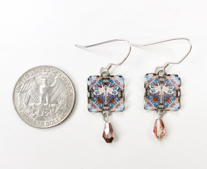Lemon Tree - Dragonfly Print Square Lace Brass Earrings - product image