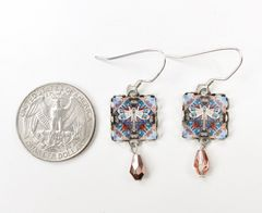 Lemon Tree - Dragonfly Print Square Lace Brass Earrings - product images 4 of 4