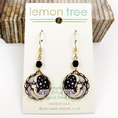 Lemon Tree - Moon Face Lace Brass Disc Earrings - product images 2 of 4
