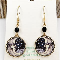 Lemon Tree - Moon Face Lace Brass Disc Earrings - product images 3 of 4
