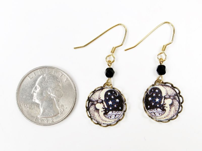 Lemon Tree - Moon Face Lace Brass Disc Earrings - product image
