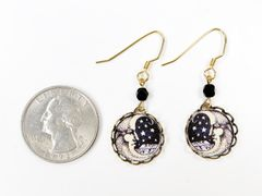 Lemon Tree - Moon Face Lace Brass Disc Earrings - product images 4 of 4