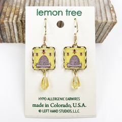 Lemon Tree - Yellow Beehive Square Lace Brass Earrings - product images 2 of 4