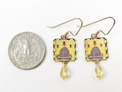 Lemon Tree - Yellow Beehive Square Lace Brass Earrings - product images 3 of 4