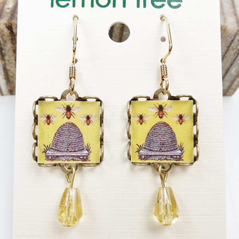 Lemon Tree - Yellow Beehive Square Lace Brass Earrings - product image