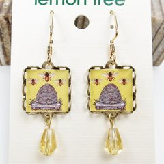 Lemon Tree - Yellow Beehive Square Lace Brass Earrings - product images 4 of 4