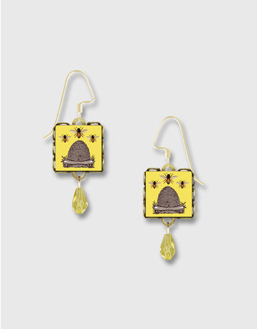 Lemon,Tree,-,Yellow,Beehive,Square,Lace,Brass,Earrings,Lemon Tree Earrings Colorado, Lemon Tree Earrings Beehive Bee