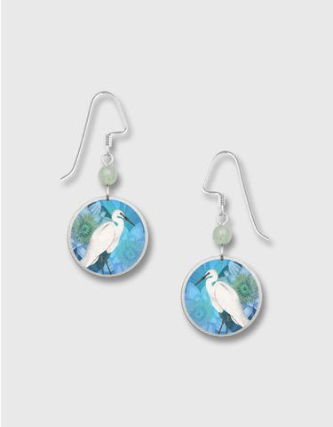 Lemon,Tree,-,White,Heron,Print,Nickel,Disc,Earrings,Lemon Tree Earrings Colorado, Lemon Tree Earrings White Heron
